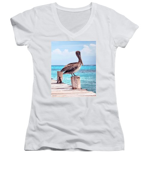 Treasure Coast Pelican Pier Seascape C1 Women's V-Neck