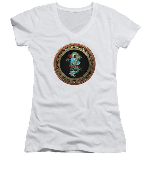 Treasure Trove - Turquoise Dragon Over White Leather Women's V-Neck T-Shirt