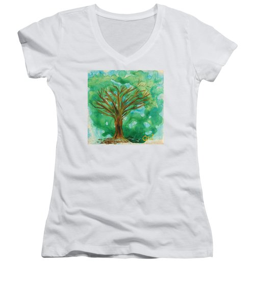 Tree Women's V-Neck (Athletic Fit)