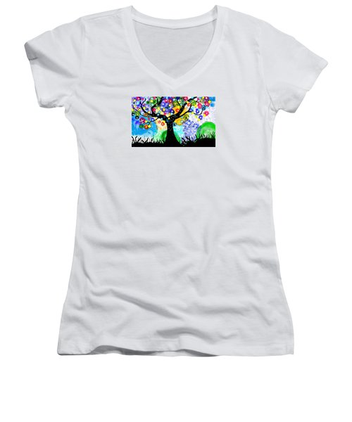 Tree Dance Women's V-Neck T-Shirt (Junior Cut) by Patricia Arroyo