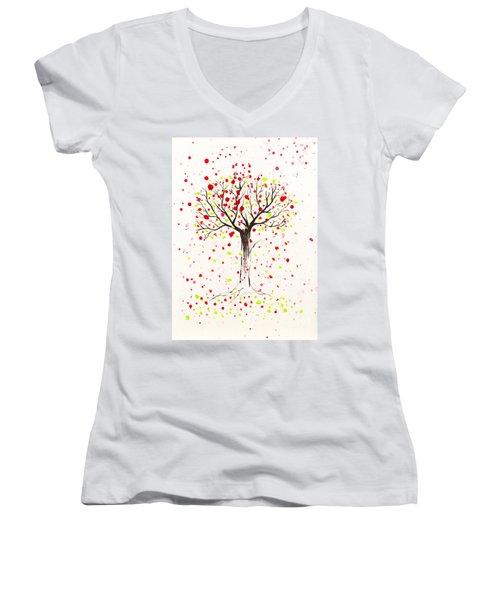 Tree Explosion Women's V-Neck T-Shirt (Junior Cut) by Stefanie Forck