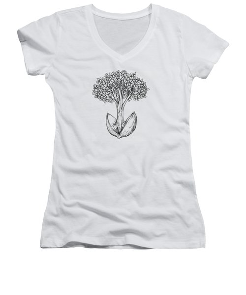 Tree From Seed Women's V-Neck (Athletic Fit)