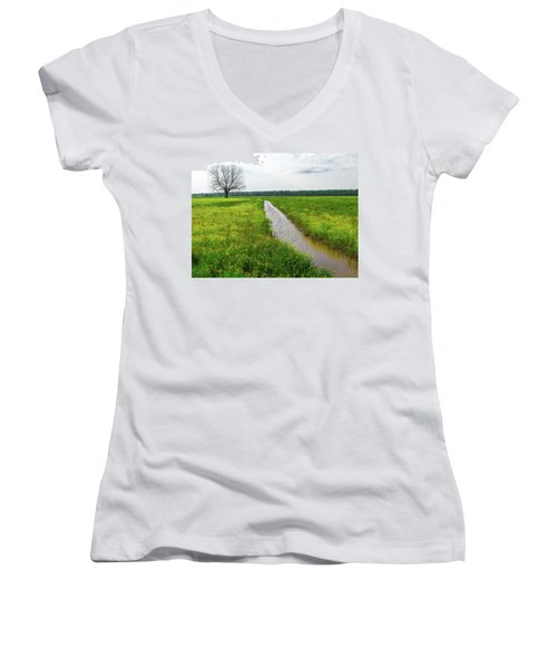 Tree In Field 2 Women's V-Neck
