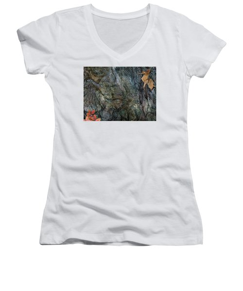 Women's V-Neck T-Shirt (Junior Cut) featuring the photograph Tree Memories # 33 by Ed Hall