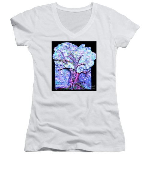 Women's V-Neck T-Shirt (Junior Cut) featuring the painting Tree Menagerie by Genevieve Esson