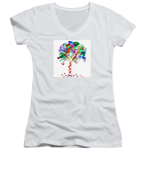 Tree Of Hearts Women's V-Neck (Athletic Fit)
