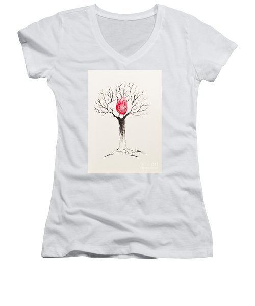 Tree Of Hearts Women's V-Neck T-Shirt (Junior Cut)