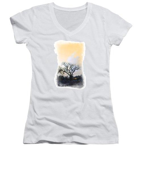 Women's V-Neck T-Shirt (Junior Cut) featuring the photograph Tree Of La Vernia II by Carolina Liechtenstein