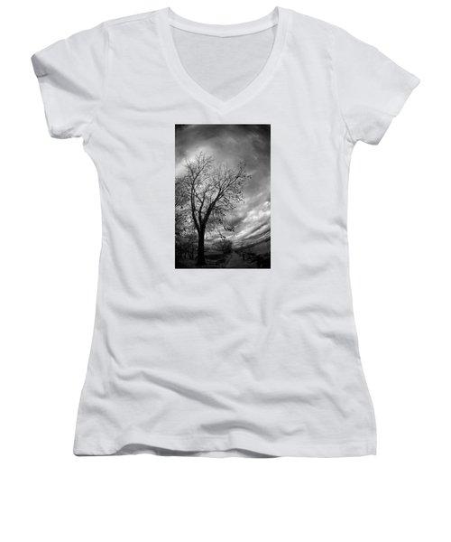 Tree 4 Women's V-Neck T-Shirt (Junior Cut) by Simone Ochrym