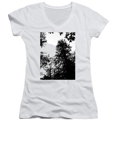 Tree Tops In Monotone Women's V-Neck