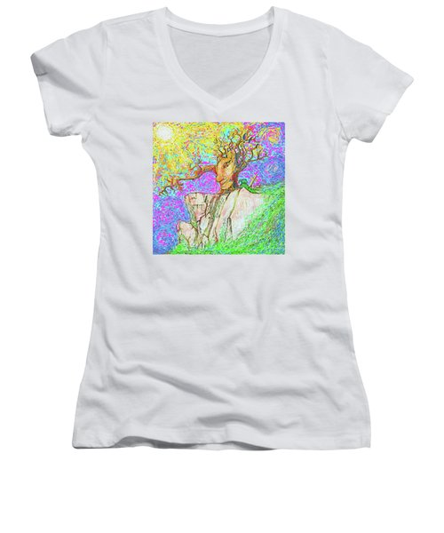 Women's V-Neck featuring the painting Tree Touches Sky by Hidden Mountain and Tao Arrow