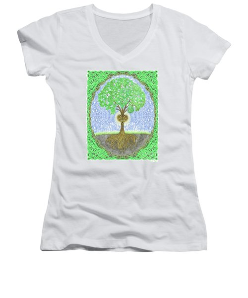 Tree With Heart And Sun Women's V-Neck