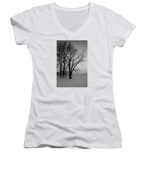 Women's V-Neck T-Shirt (Junior Cut) featuring the photograph Trees In The Fog by Karen Harrison
