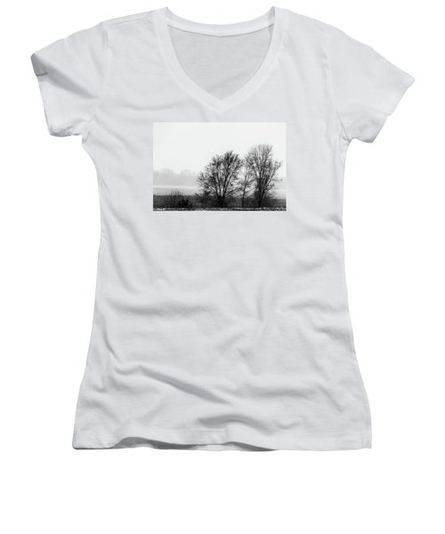 Trees In The Mist Women's V-Neck T-Shirt (Junior Cut) by Jay Stockhaus