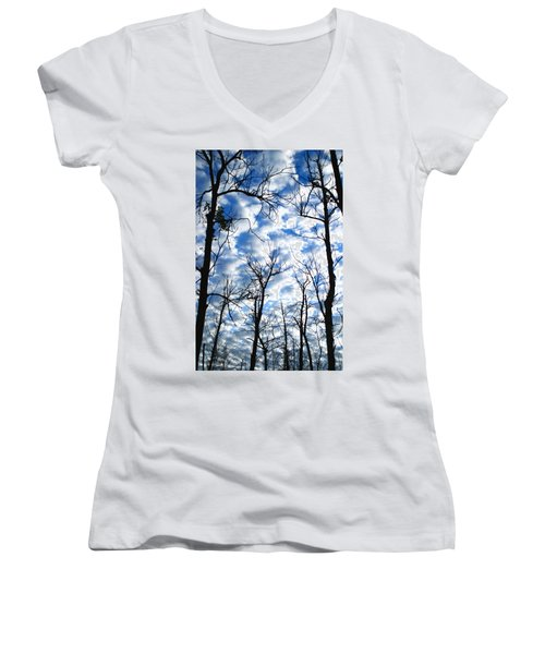 Trees In The Sky Women's V-Neck T-Shirt (Junior Cut) by Shari Jardina