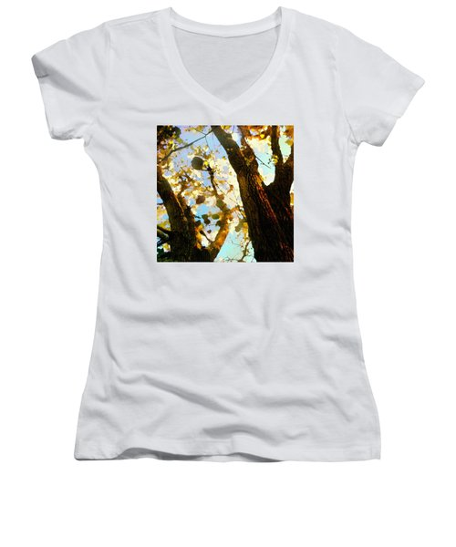 Women's V-Neck featuring the digital art Treetop Abstract-look Up A Tree by Shelli Fitzpatrick