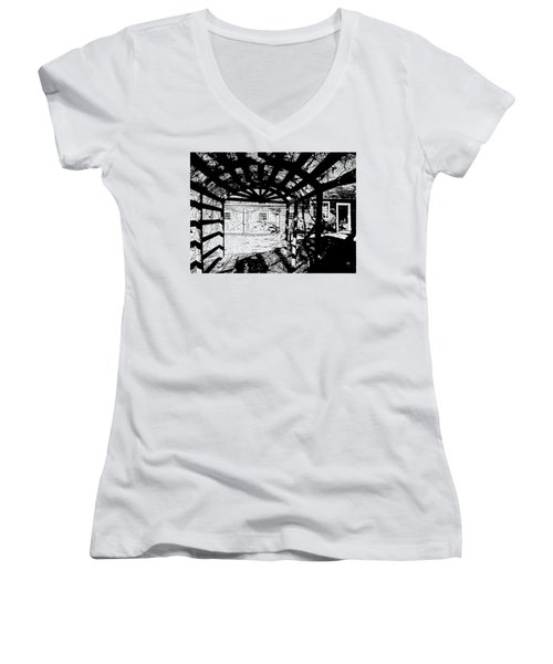 Trellis Pov Women's V-Neck T-Shirt (Junior Cut) by Betsy Zimmerli