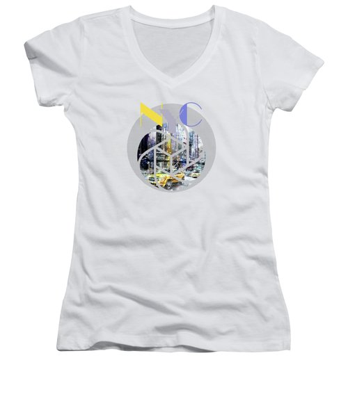 Trendy Design New York City Geometric Mix No 3 Women's V-Neck T-Shirt (Junior Cut) by Melanie Viola