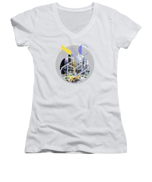 Trendy Design New York City Geometric Mix No 3 Women's V-Neck T-Shirt (Junior Cut)