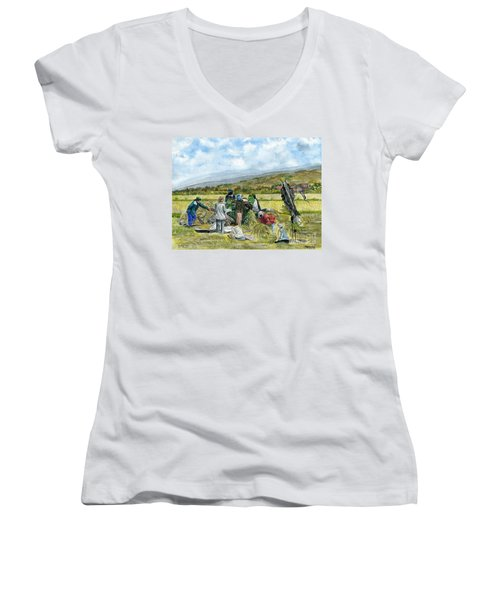 Women's V-Neck T-Shirt (Junior Cut) featuring the painting Treshing Rice by Melly Terpening