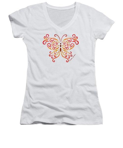 Tribal Butterfly Women's V-Neck