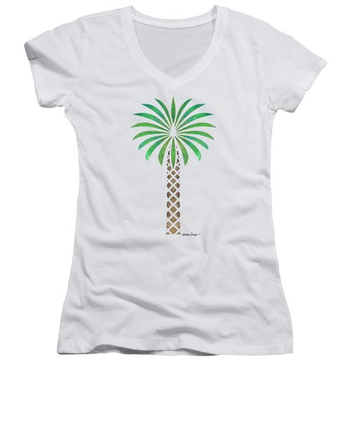 Tribal Canary Date Palm Women's V-Neck T-Shirt (Junior Cut) by Heather Schaefer