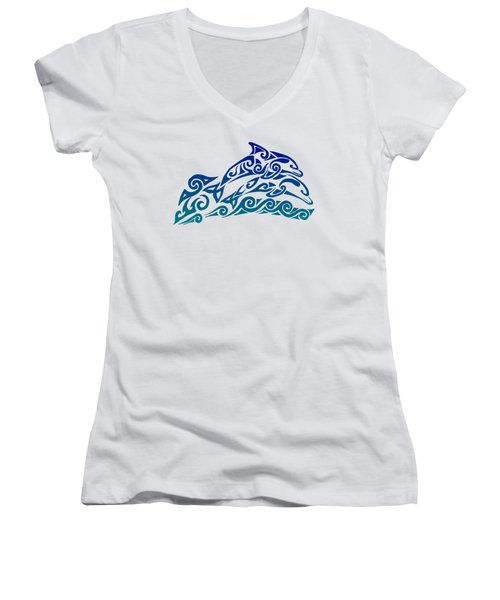 Tribal Dolphins Women's V-Neck T-Shirt