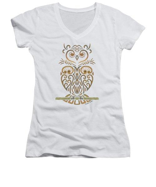 Tribal Owl Women's V-Neck