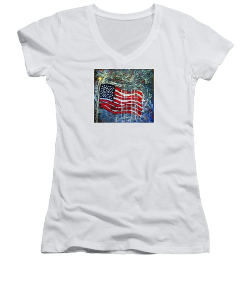 Women's V-Neck T-Shirt (Junior Cut) featuring the mixed media Tribute by J R Seymour