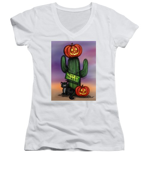 Trick Or Treat Cactus Women's V-Neck (Athletic Fit)