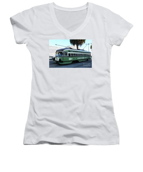 Women's V-Neck T-Shirt (Junior Cut) featuring the photograph Trolley Number 1078 by Steven Spak