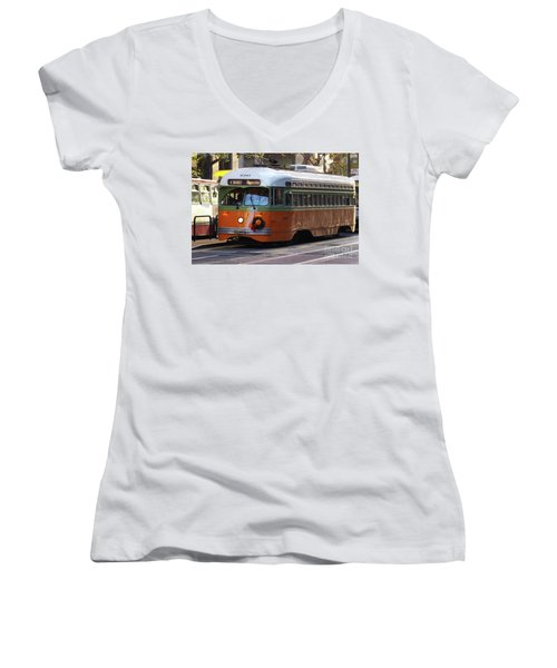 Women's V-Neck T-Shirt (Junior Cut) featuring the photograph Trolley Number 1080 by Steven Spak