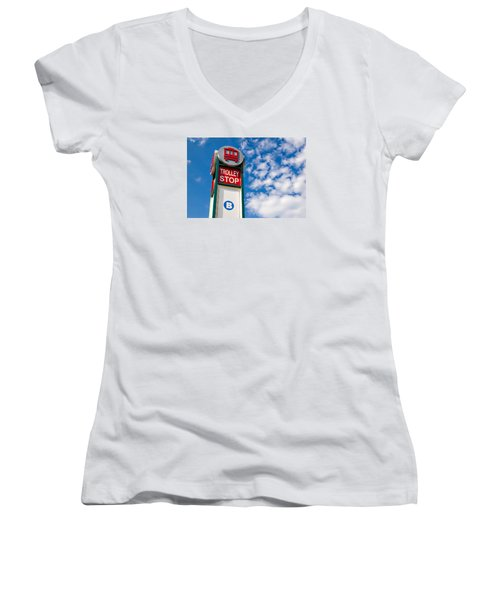 Trolley Stop Women's V-Neck T-Shirt (Junior Cut) by Bob Pardue