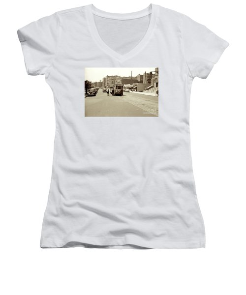 Women's V-Neck T-Shirt featuring the photograph Trolley Time by Cole Thompson