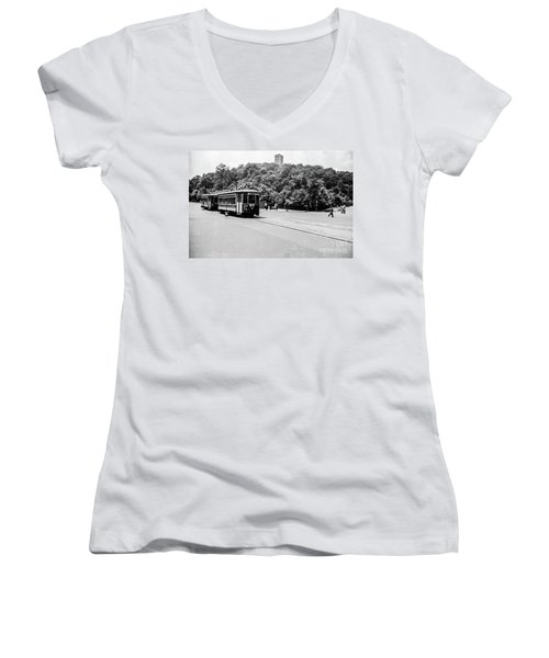 Women's V-Neck T-Shirt featuring the photograph Trolley With Cloisters by Cole Thompson
