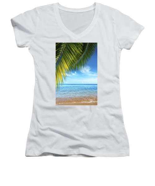 Tropical Beach Women's V-Neck T-Shirt (Junior Cut) by Carlos Caetano