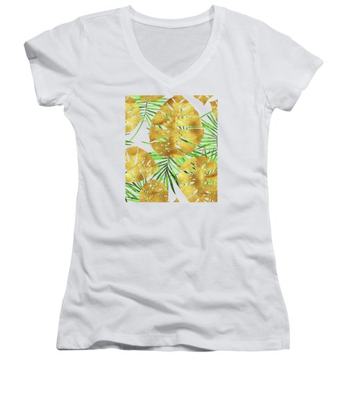 Tropical Haze II Gold Monstera Leaves And Green Palm Fronds Women's V-Neck T-Shirt