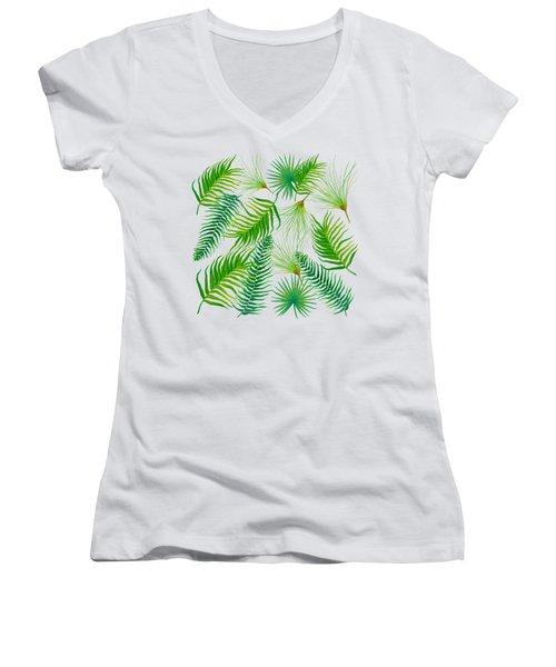 Tropical Leaves And Ferns Women's V-Neck T-Shirt (Junior Cut) by Jan Matson