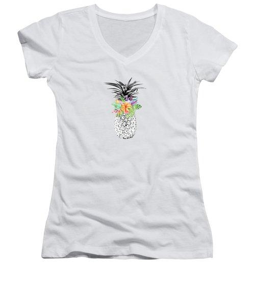 Tropical Pineapple Flowers Aqua Women's V-Neck T-Shirt (Junior Cut) by Dushi Designs