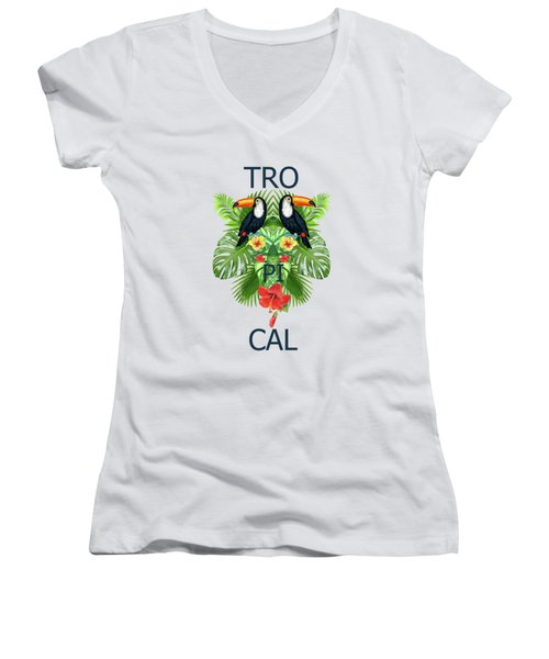 Tropical Summer  Women's V-Neck T-Shirt (Junior Cut) by Mark Ashkenazi