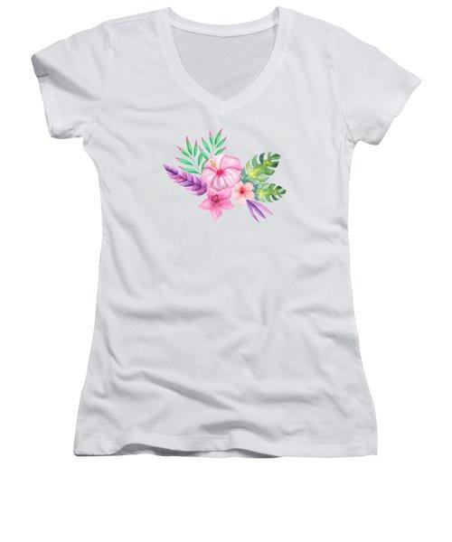 Tropical Watercolor Bouquet 1 Women's V-Neck (Athletic Fit)