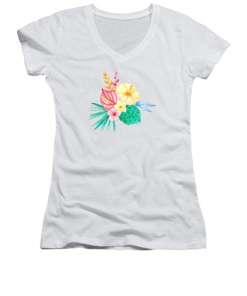 Tropical Watercolor Bouquet 2 Women's V-Neck (Athletic Fit)