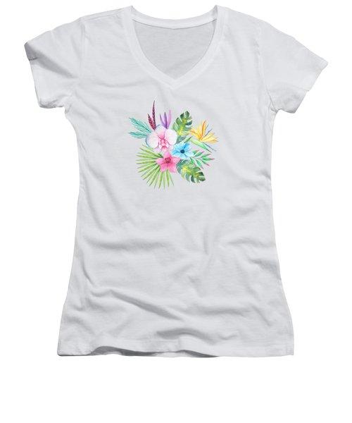 Tropical Watercolor Bouquet 3 Women's V-Neck (Athletic Fit)