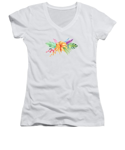 Tropical Watercolor Bouquet 4 Women's V-Neck (Athletic Fit)