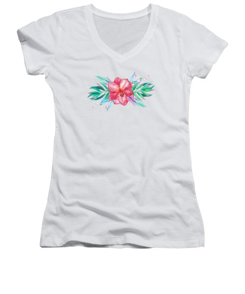 Tropical Watercolor Bouquet 5 Women's V-Neck (Athletic Fit)
