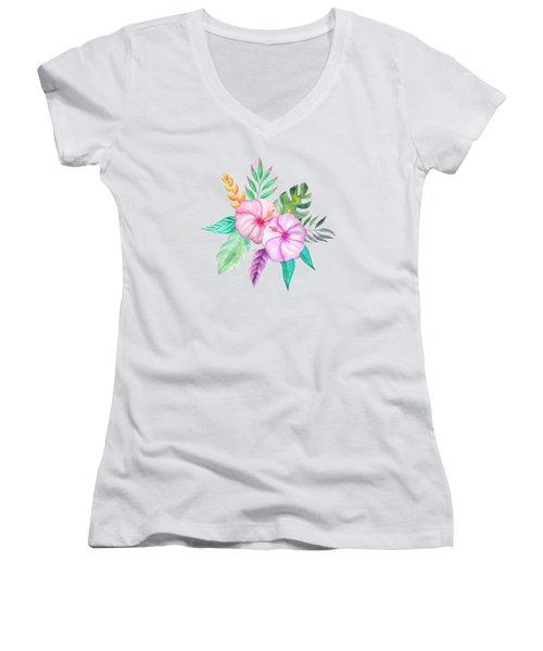 Tropical Watercolor Bouquet 78 Women's V-Neck (Athletic Fit)