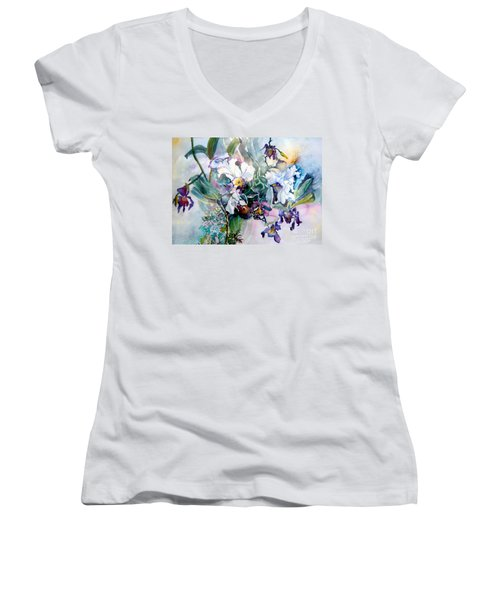 Tropical White Orchids Women's V-Neck (Athletic Fit)