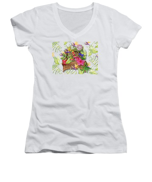 Tropicals In A Basket Women's V-Neck T-Shirt (Junior Cut) by Larry Bishop