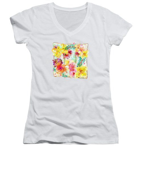 Tropicana Abstract By Kaye Menner Women's V-Neck T-Shirt (Junior Cut) by Kaye Menner