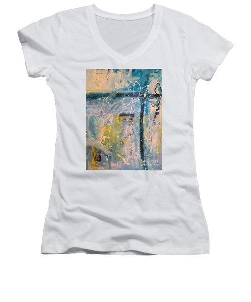 Tropicana Bird 01 Women's V-Neck T-Shirt (Junior Cut) by Gallery Messina